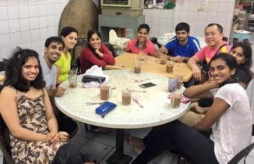 TEAM DINNER: Shuttlers have some time off the court with food & laughter