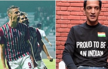 WAR OF WORDS: Bagan striker Duffy & Minerva owner Ranjit Bajaj engage in a banter