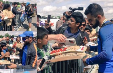 WATCH: Kohli, Dhoni and Rohit oblige fans after a training session