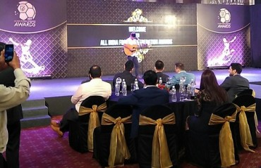 WATCH: Lyngdoh showing off his singing talent at the AIFF awards night