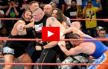 WATCH: Brock Lesnar and Samoa Joe Engage in a heated brawl on Raw
