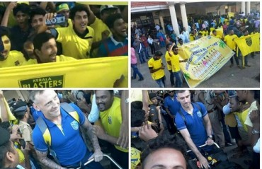 'Manjappada', the Kerala Blasters fan club gives the players a grand welcome at the airport