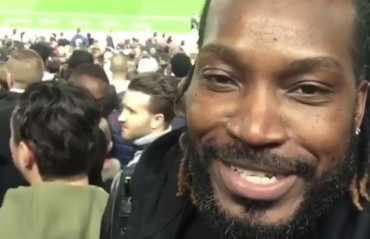 WATCH: Chris Gayle sings Bob Marley song while watching LIV Vs MUN from Anfield stand