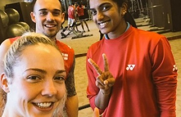 The PBL Connection: Chennai Smashers teammates Sindhu & the Adcock couple train together at Dubai SSF