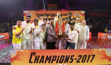Tanongsak helps Chennai Smashers lift the PBL 2017 trophy; Mumbai ended as runners-up once again