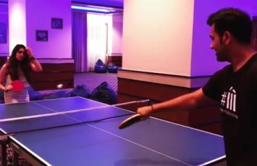 WATCH: Rohit Sharma enjoy a table tennis session with his wife