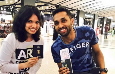 HAPPY SHUTTLERS: Sikki & Prannoy with their 'passports' take off for Indonesia