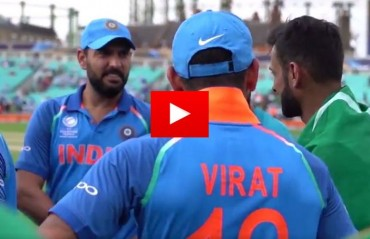 It's only a sport after all: Kohli and Yuvraj share a laugh with Shoaib Malik following CT17 finals