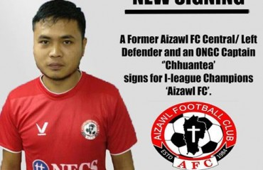 I-league champs Aizawl FC sign their former defender Chhuantea