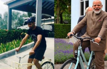 Jadeja takes a new ride; thanks PM Modi for inspiration