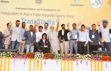 Srikanth & Gopichand among other athletes present at the launch of new stadium in Gujarat
