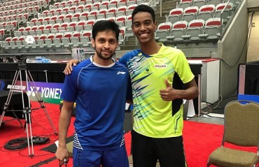 Off-court Bonding: Parupalli Kashyap poses with young Brazilian shuttler Ygor Coelho