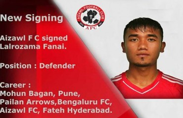 I-League 2017: Aizawl FC sign 25 year-old defender Lalrozama Fanai