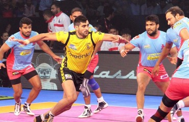 Pro Kabaddi: Rahul Chaudhari's 17 helps Telugu Titans overcome Jaipur Pink Panthers 41-34