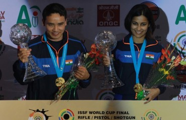 Heena Sidhu and Jitu Rai bags Gold to start-off India's campaign at ISSF World Cup Final