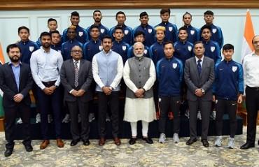 Prime Minister Narendra Modi meets India's U-17 football squad in New Delhi