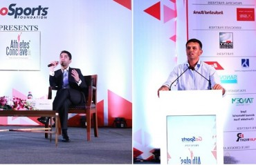 "Abhinav Bindra encourages young athletes to chart their own course, while Rahul Dravid encourages them to take it ""ball by ball"""
