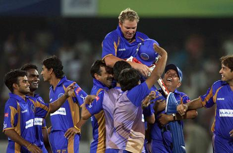 Shane Warne guides RR to a stunning victory against Deccan Chargers in IPL 2008    Image Source: BCCI