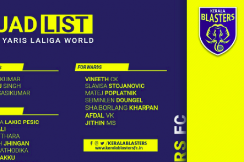 Kerala Blasters announce their squad for Kochi friendlies