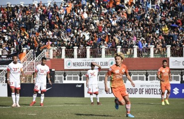 Neroca FC eke three points against Shillong Lajong to draw level with Chennai City