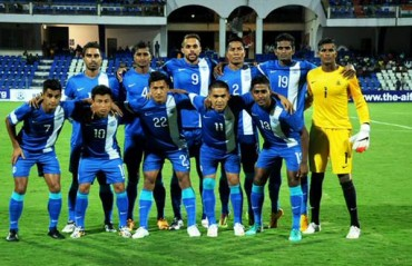 Indian football team practices ahead of World Cup qualifier