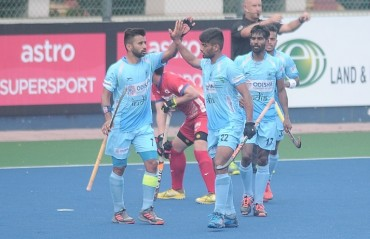 Confident Indian Men's Hockey Team register a 2-0 win against Asian Games Champions Japan