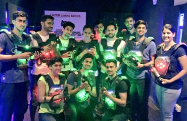 Saina and fellow shuttlers takes a much-needed break at a lazer gaming arena