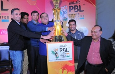 Badminton India Association unveils the trophy for Premier Badminton League 2016