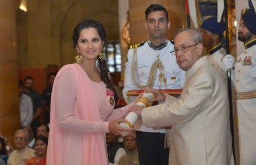 Tennis ace Sania Mirza receives the Padma Bhushan award