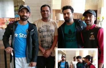 Sameer Verma hangs out with cricketers Rohit Sharma and Ajinkya Rahane